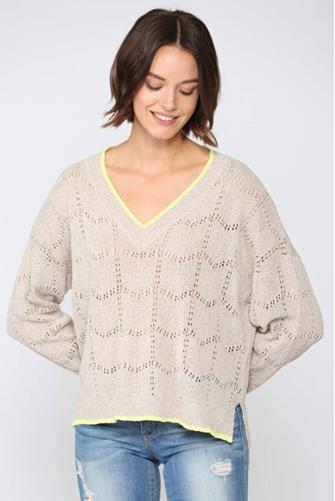 Tipped V-Neck Pullover NATURAL