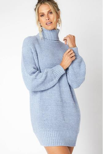 Blue Echoes Turtleneck Sweater Dress BLUE