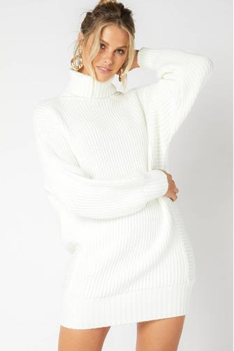 White Echoes Turtleneck Sweater Dress WHITE