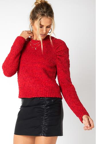 Lucie Raglan Knit Sweater RED-MULTI--