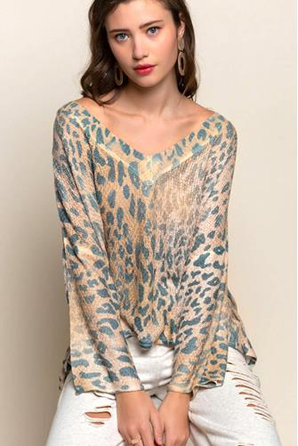 Leopard Tie Back Pullover BROWN-MULTI--
