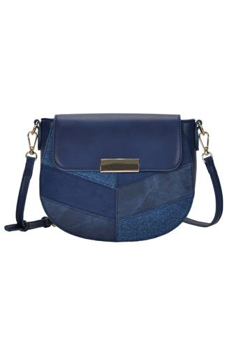 Suede Pattern Foldover Crossbody Bag BLUE