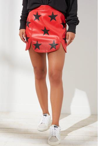 Ali Vegan Leather Red Star Mini Skirt RED-MULTI--