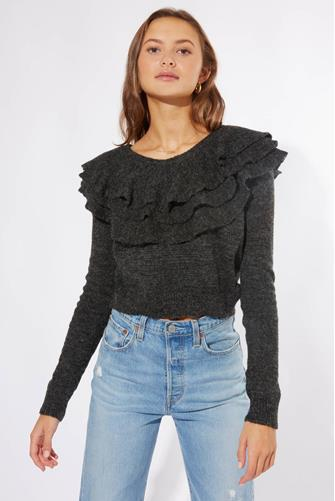 RUFFLE NECK LINE PULLOVER CHARCOAL