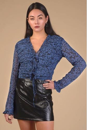 Ruched Front Blouse BLUE MULTI -