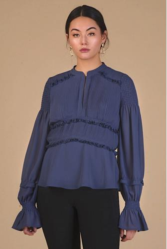 Pleated Front Long Sleeve Blouse BLUE