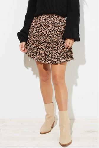 Leopard Tiered Ruffle Mini Skirt BROWN-MULTI--