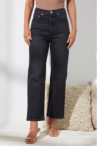 Ribcage Straight Leg Ankle Jean in Feelin' Cagey BLACK