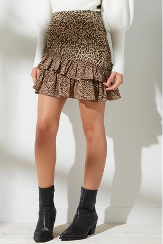 Leopard Smocked Ruffle Mini Skirt TAN