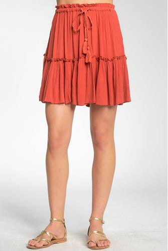 Coral Tiered Ruffle Mini Skirt CORAL