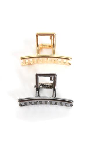 Small Black & Gold Small Claw Hair Clip Two Pack BLACK