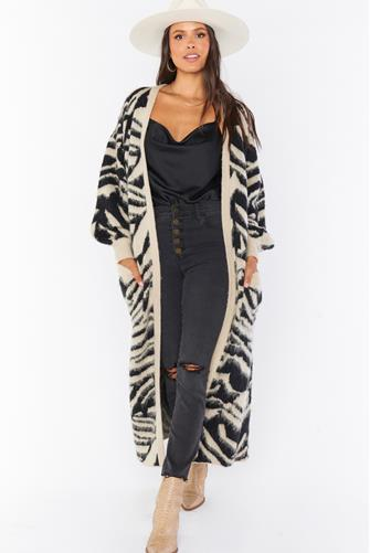 Out & About Zebra Print Cardigan BLACK-MULTI--