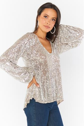 Chelsea Sequin Top SILVER