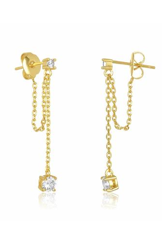 The Ray Drop Chain Earrings GOLD