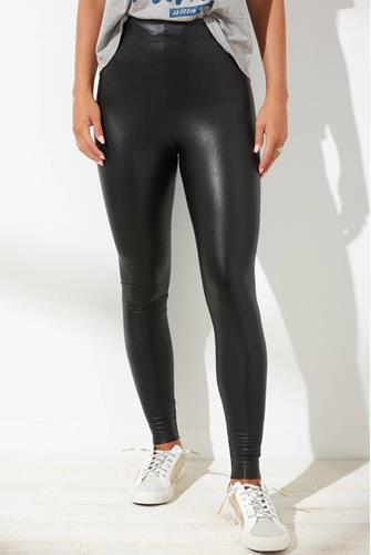 Black Faux Leather Leggings BLACK