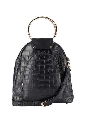 FAUX LEATHER CROC BACKPACK BLACK