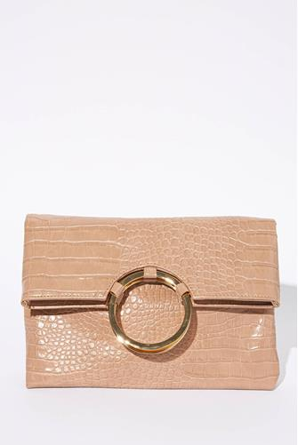 Tan Carter Croc Fold Clutch TAN