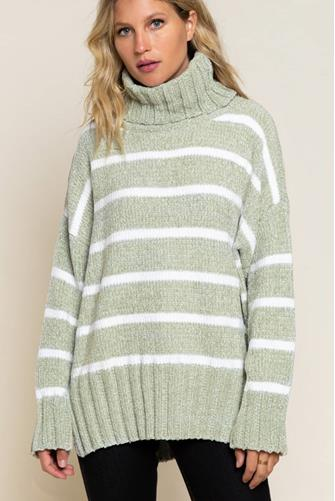 STRIPED CHENILLE TURTLENECK SAGE