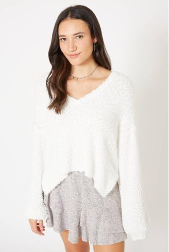 Popcorn Textured V-Neck Sweater IVORY