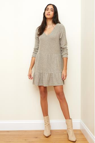 V-Neck Tiered Hacci Mini Dress TAUPE