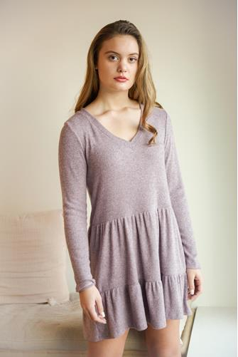 Mauve V-Neck Tiered Hacci Mini Dress MAUVE