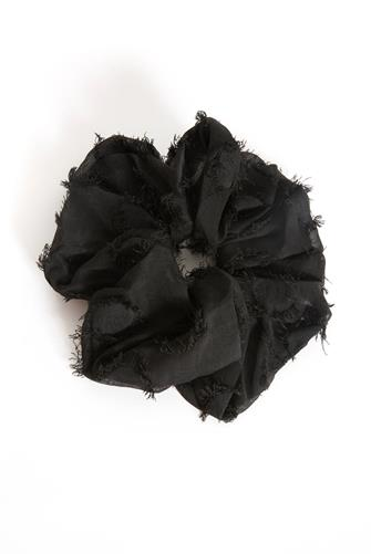Frayed Black Scrunchie BLACK