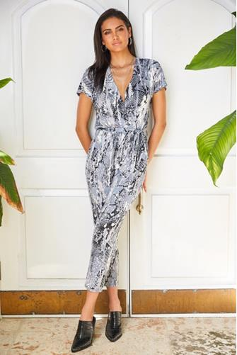 Abstract Snake Jumpsuit BLUE-MULTI--