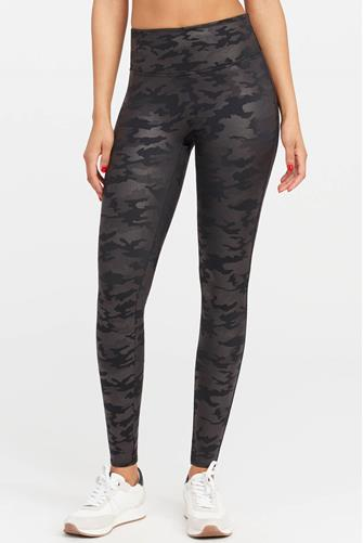 Faux Leather Camo Leggings BLACK-MULTI--