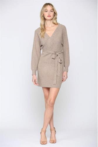 Taupe Wrap Sweater Dress  TAUPE