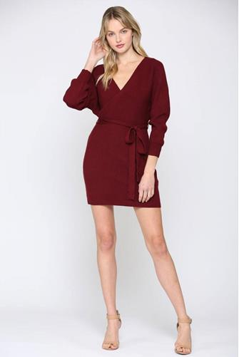 Burgundy Wrap Sweater Dress  BURGUNDY