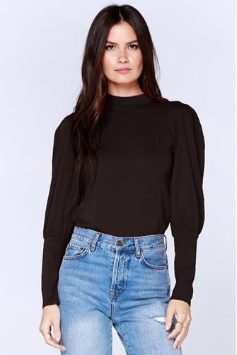 Mock Neck Bishop Sleeve Top BLACK