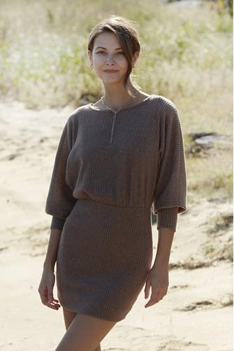Boatneck Hacci Mini Dress BROWN