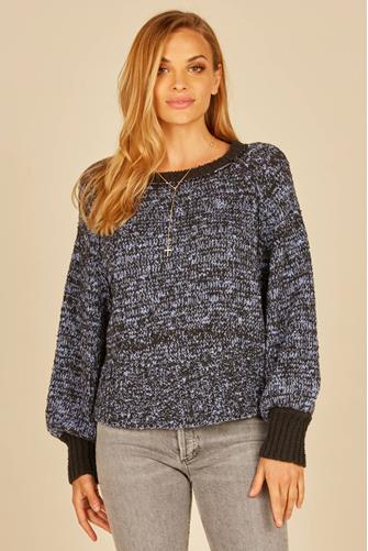 Ribbed Round Hem Sweater BLUE-MULTI--
