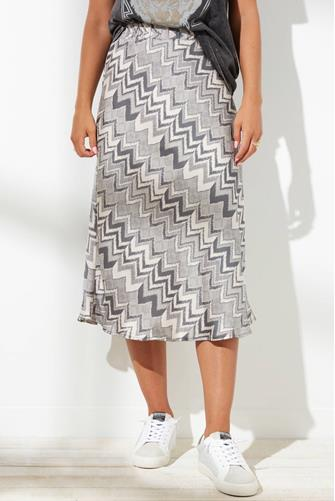 Aisha Chevron Midi Skirt GREY-MULTI--