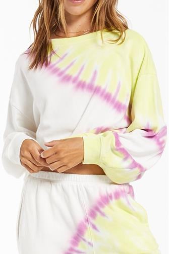 White Multi Sunburst Tie Dye Sweatshirt WHITE-MULTI--