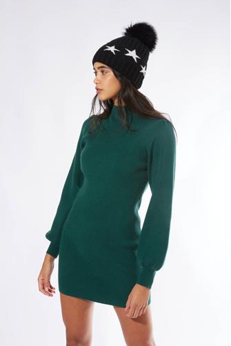 Green Turtleneck Ribbed Knit Dress  FOREST-GRN