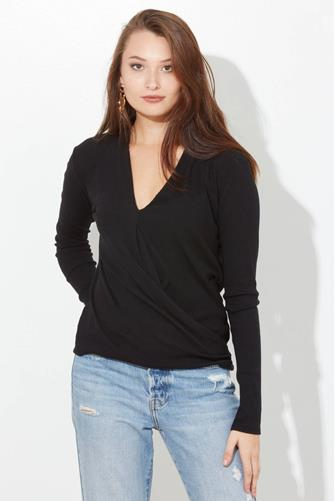 Surplice Top  BLACK