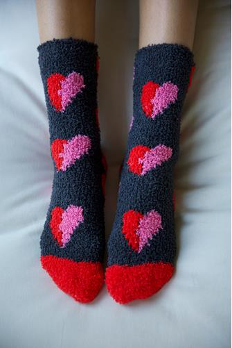 Red & Pink Heart Fuzzy Socks CHARCOAL