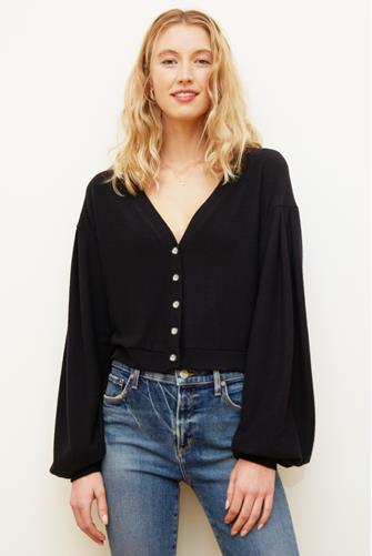 Entice Button Front Cardigan BLACK