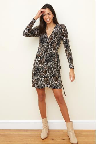 Printed Ruched Sleeve Wrap Mini Dress MULTI