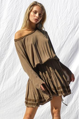 Carlyle Mini Dress  BROWN