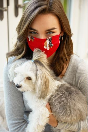 Happy Howlidays Face Mask RED