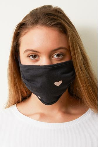 Pink Heart Face Mask SLATE