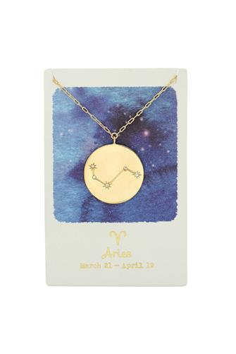 Aries Zodiac Coin Necklace GOLD