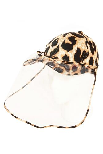 Leopard Hat Face Shield BROWN-MULTI--