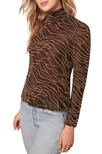 Gilt Trip Zebra Lurex Mesh Top BLACK