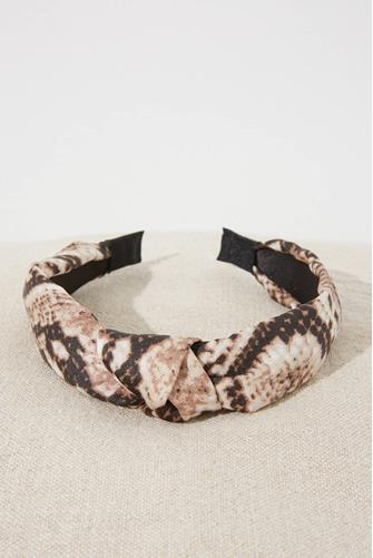 Beige Animal Print Headband BEIGE