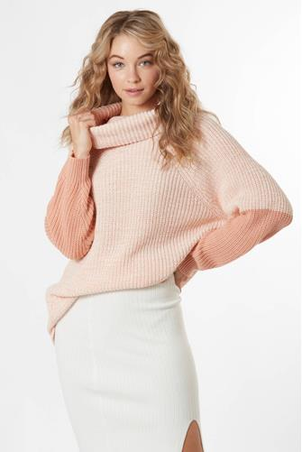 Pink Colorblock Turtleneck PINK