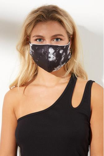 Black Tie Dye Face Mask BLACK-MULTI--