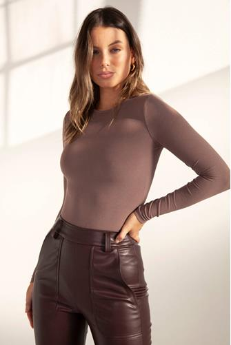 CREW NECK BODYSUIT BROWN